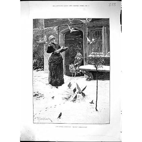 Impresión Antigua de la Señora 1884 de la Mañana de la Navidad Feeding Birds Early Breakfast
