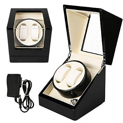 NINUO Watch Winder 2 + 0 para relojes automáticos con pilas (blanco y negro)