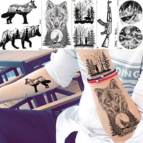Männer Mode Schwarz Tattoo Aufkleber Little Peak Wolf Temporäre Tätowierung Frauen Körperkunst Malerei Unterarm Wasserdichte Tatoos Mond 10,5X6 cm