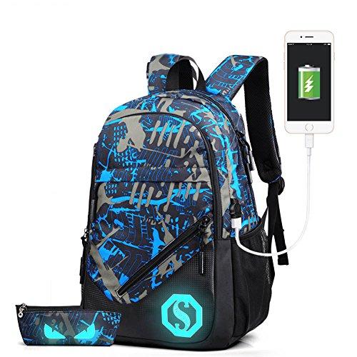 Luminoso casual scuola zaino da viaggio zaino di zaino a spalla con porta di ricarica USB