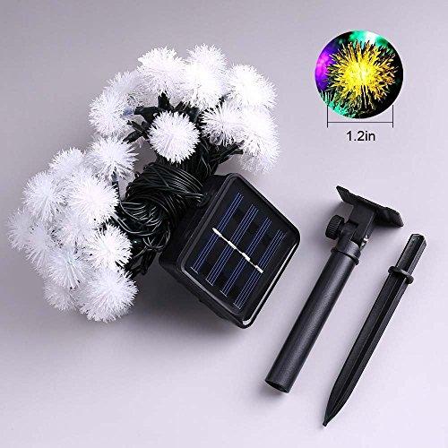 oyep (TM) Guirlande lumineuse solaire, 30 LED Guirlande lumineuse étoilée, 6.5 m, 1,2 V portable avec détecteur de lumière, étanche pour jardin, maison, mariage, fête, Noël, Halloween blanc chaud
