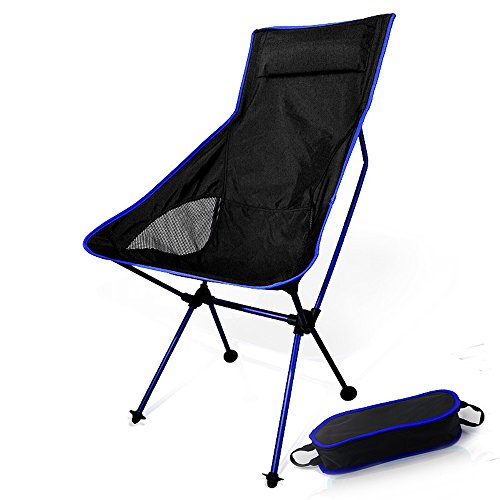 Support 330LBS Portable Ultralight Outdoor Picnic Fishing Camping Hiking Traveling Sports with Adjustable Height - Compact Folding Chair in a Carry Bag (Royal Blue)