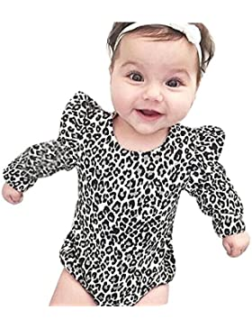 Neugeborener Overall,Simonabo Säugling Baby Mädchen Leopard Langarm Kleidung Spielanzug Overall Anzug Outfits...