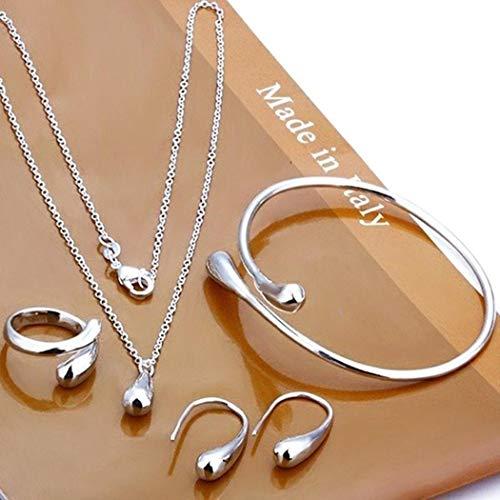 Sioneit Frauen Modeschmuck Set Silber Wassertropfen Halskette Ohrring Armreif Set Schmuck-Sets