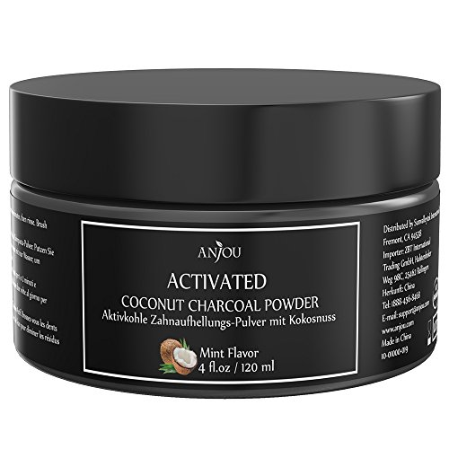 - 51yX54aMMtL - Teeth Whitening Powder by Anjou , 100% Natural Activated Charcoal Teeth Whitener Made from Coconut and Mint, Extra-Big Jar of 113g and Removes Bad Breath
