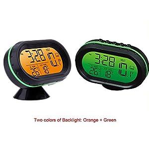 yosoo 12 V Auto digitales Thermometer Voltmeter Uhr Alarm Monitor Spannung Wanduhr Zähler Multifunktionale Auto Gel Temperaturanzeige Uhr LCD Monitor Akku Zähler Bewegungsmelder