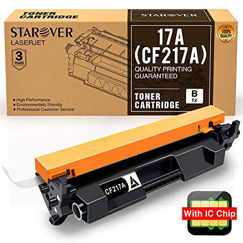 STAROVER 1x 17A CF217A (Con Chip) Cartucho De Tóner Negro Compatible Para HP LaserJet Pro M102w M102a MFP M130nw MFP M130fw MFP M130fn MFP M130a Impresora(1600 Páginas Por Negro)