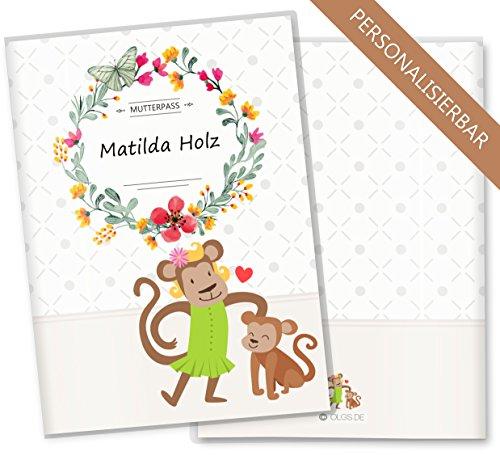 Wunschnamen Mutterpass Hülle Affe 3-teilig Plastik Fotopapier weiß mit Wunschnamen personalisiert