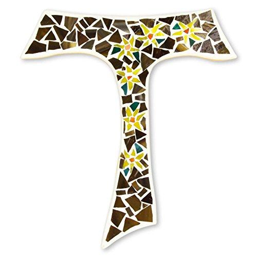 NOVICA Tau Easter Lilies' Glass Mosaic Cross, Brown Yellow