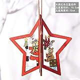 sweeTvT-NEW Holz Glocken Leere Carving Weihnachtsbaum Anhänger Dekoration Kreative Weihnachtsdekoration Jahr Tür und Fenster Dekoration, Rote Sterne (3 stücke)