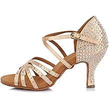 YKXLM Mujeres&Niña Zapatos latinos de baile Zapatillas de baile de salón Salsa Performance Calzado de Danza,Modelo ESAFCT404