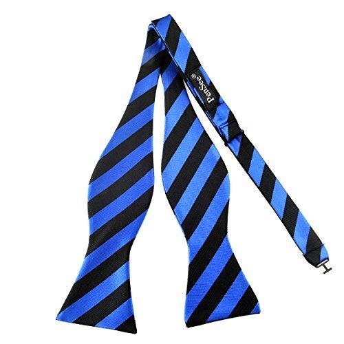 PenSee Herren Fliege, zum Selbstbinden, klassisches Design mit Streifenmuster, gewebte Seide, verschiedene Farben erhältlich Gr. One size, Black and Blue Stripe Blue Stripe Bow Tie
