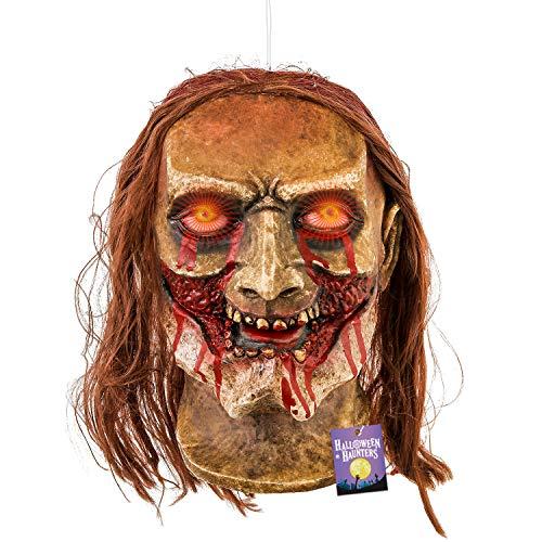 Halloween Haunters Lebensgroß Animierter Zombie-Kopf mit schreiendem beweglichem Mund Requisite - Animatronic Gummi Latex - batteriebetrieben