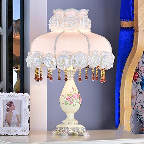 Beleuchtung Tischlampe Harz - TDH210 Europäischen Schlafzimmer Nacht romantische französische Prinzessin Hochzeit Lampen (Farbe : Pink)