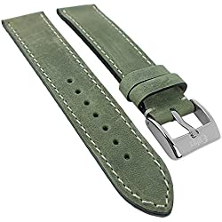 Minott watch strap Nubuck Cowhide Leather with Dark Bevel Edge, Oiled 29977 Color Green Bridge Width: 22 mm