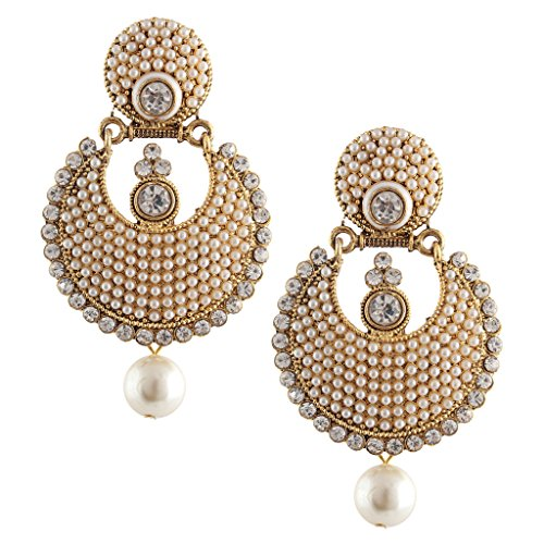 Dancing Girl Kundans Polki White Metal Alloy Dangler Drop Earrings For Women