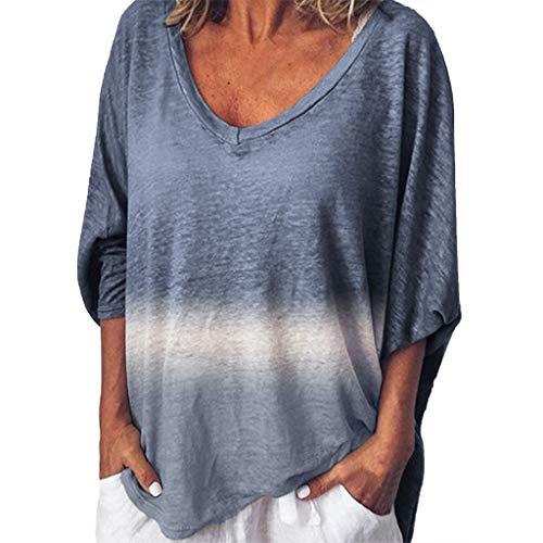Dtuta T-Shirt Damen V-Ausschnitt Bluse, 3/4 Kurzarm T-Shirt Casual Patchwork Sommer Lose Shirt Asymmetrisch Oversize Oberteile, Tunika Blau,Grün,Lila