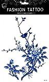 Spestyle gefälschte Tätowierungen, die etc Echt Große Design gefälschte temporäre blau Spatzen und Blumen aussehen Frauen für Brust, Bauch, Rücken, Bein, Tattoo-Aufkleber.