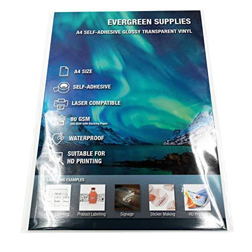 Paquete de 20 hojas A4 de vinilo adhesivo imprimible, acabado transparente con brillo, resistente al agua. Para impresora láser. Crea tus propias pegatinas, etiquetas, rótulos y más