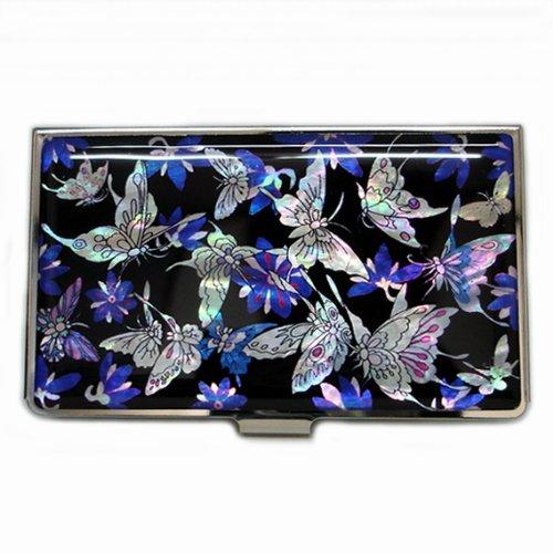 Etui pour cartes de visite en nacre d'Asie avec papillons porte-bonheur