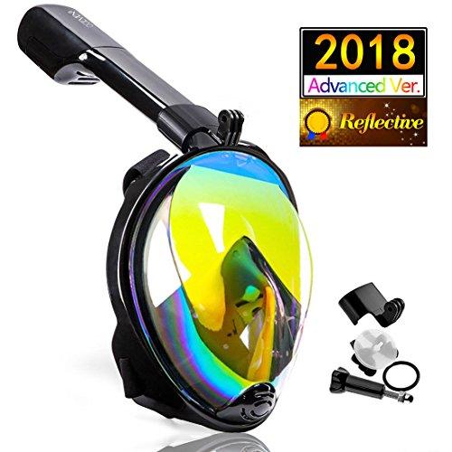 OCEVEN Vollmaske Schnorchelmaske Tauchmaske Vollgesichtsmaske mit 180° Sichtfeld, Dichtung aus Silikon Anti-Fog und Anti-Leck Technologie für Erwachsene und Kinder (Reflektierend Schwarz, L/XL)