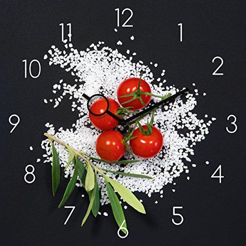 Wanduhr aus Glas für die Küche, Cucina Italiana Pomodori, Tomaten, Kräuter, Salz, schwarz, 30x30 cm von Eurographics (Wand-uhr)