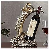 Meet World Porta-Bottiglie di Vino, Portabottiglie per Vino Beauty Rose, Decorazione per Armadietto da Vino da Tavola Europeo Ornamenti Artigianali in Resina per Hotel
