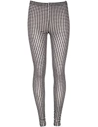 MISS CUTE WOMENS LADIES CASUAL ELASTICATED WAIST STRETCH FULL LENGTH SLIM FIT GINGHAM CHECK PRINT LEGGINGS