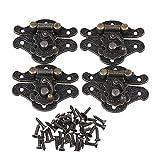 Lot de 4 verrous vintage BQLZR - Couleur bronze - 28 x 23 mm - Pour petite boîte à bijoux, valise ou meuble