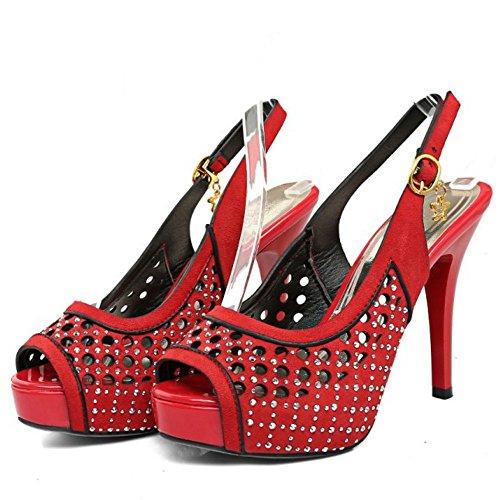 TAOFFEN Damen Fashion Stiletto Peep-toe Sandalen Lady High Heel Shoes Rot