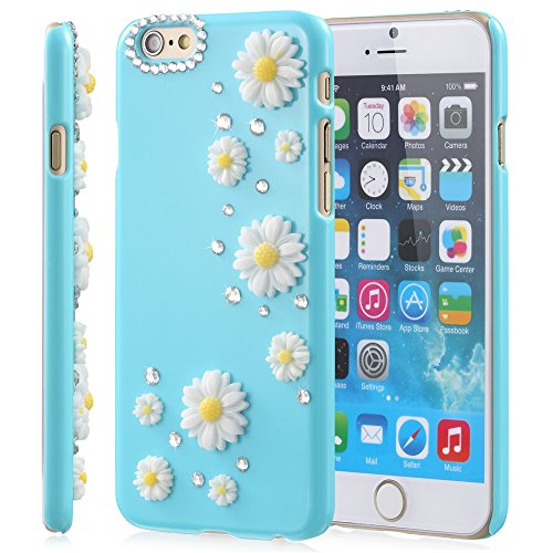 Fosmon Apple iPhone 6 Case (GEM-SUN) 3D Bling Sunflower Design Case Cover for iPhone 6 Bleu ciel