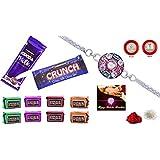 Rakhi Combo - Rakhi With Chocolate (Silver Color / Plated Rakhi) With Choclate Combo (R1_D3_C10)   Rakhi Gifts...