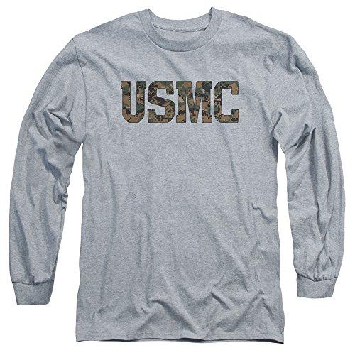 Us Marine Corps - - Das langärmlige T-Shirt USMC Camo Fill für Herren, Large, Athletic Heather -