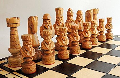 Luxus CAESAR EXCLUSIVE Holz Schachspiel 60 x 60 cm Hand geschnitzt Kirschholz Schachfiguren