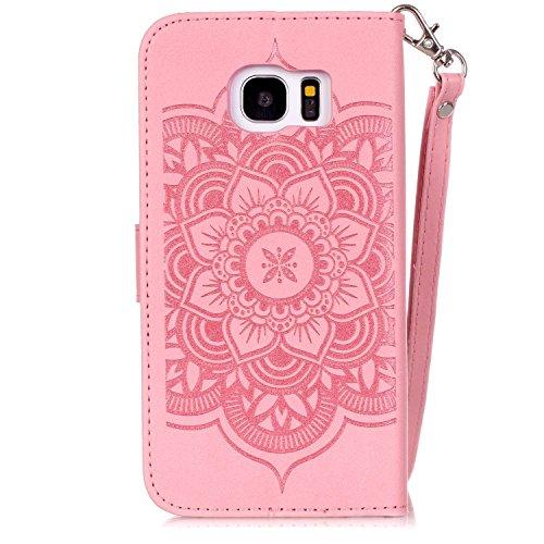 Etui Samsung S6 Edge , Anfire Attrape Reve et Henna Mandala Sun Lace Tribal Vintage Motif Peint Mode PU Cuir Étui Coque pour Samsung Galaxy S6 Edge SM - G925F (5.1 pouces) Housse de Protection Luxe St Rose D'or