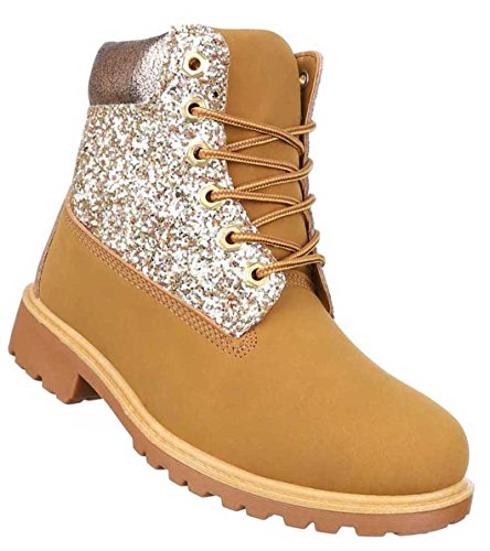 Damen Schuhe Stiefeletten Schnür Boots Camel