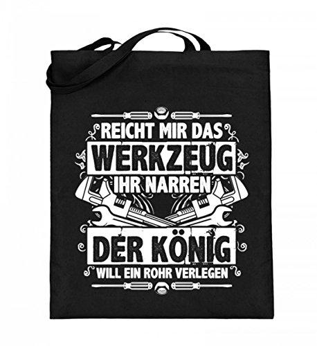 Hochwertiger Jutebeutel (mit langen Henkeln) - Der König will ein Rohr verlegen Geschenk Mann Klempner Schwarz