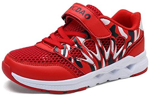 SEECEE Kinder Jungen Sportschuhe mit Klett Laufschuhe Mesh Turnschuhe Atmungsaktiv Sneaker Rutschfest Fitnessschuhe Outdoorschuhe Freizeitschuhe Rot 35 EU