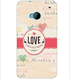 PrintDhaba Quote D-5589 Back Case Cover for HTC ONE M7 (Multi-Coloured)