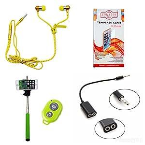 KONARRK 4 in 1 Combo of Selfie Stick Green, Zipper Earphones Yellow, Handsfree Splitter Black and Tempered Glass for SAMSUNG J3