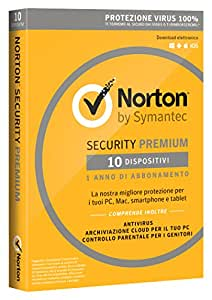 Norton Security Premium Antivirus Software 2018 | Protezione Antivirus per 10 Dispositivi (Licenza di 1 anno) | Compatibile con Mac, Windows, iOS e Android