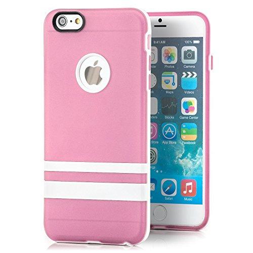 Saxonia Apple iPhone 6 Plus / 6S Plus Hülle Silikon Case Schutzhülle mit weißem Rahmen Rosa Rosa