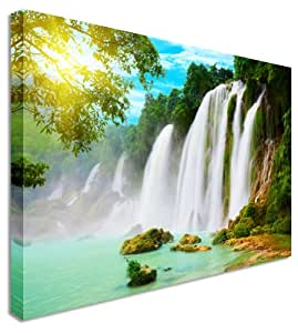 Art Okay Grande photo de cascade chinois et vietnamien Bordure Impression sur toile Décoration murale 101,6 x 76,2 cm