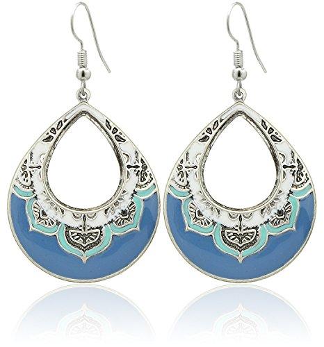 2LIVEfor Tropfenohrringe Blau Ethno Tropfen verziert Tibet blaue Ohrringe Bohemian Vintage Ohrringe Hängend Antik Style Silber Türkis Ohrhänger Ornamente