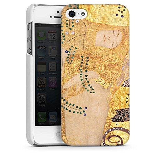 Apple iPhone 5 Housse Étui Silicone Coque Protection Klimt Serpents d'eau Art CasDur blanc