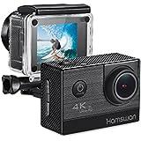HAMSWAN F68 Aktion Kamera 4K 16MP Ultra Full HD WiFi Helmkamera 30m Wasserdicht 2-Zoll 170° Weitwinkel für Reisen Tauchen Surfen Schilaufen Fallschirmspringen usw. allen Zubehör Inkl.(Schwarz)