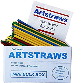 Amazing Arts and Crafts Artstraws MINI SCHOOL PACK COLOURED PAPER STRAWS ART STRAWS GREEN RED YELLOW BLUE 6mm