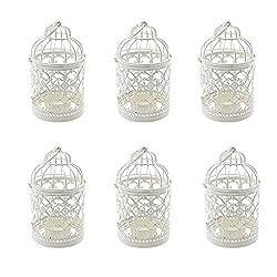 Weanty 6 Stücke Eisen kerzenhalter Kerzenhalter Vintage Metall Dekoration Laternen Hohle Hängende Kerzenhalter Home Tischdekoration Hochzeit Dekoration Weiß