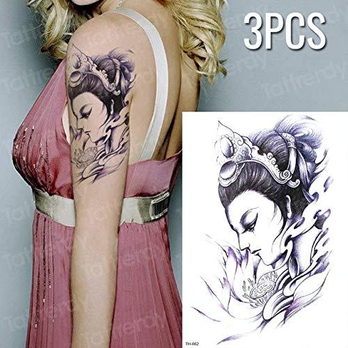 Tzxdbh 3 pezzi tatuaggio disegno tatuaggio croce trasferimento dell'acqua tatuaggio angelo duraturo autoadesivo del tatuaggio temporaneo nero tatuaggio temporaneo 3 pezzi-