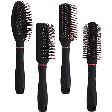Com-Four Lot de 4pièces de styling avec différentes brosses de coiffure avec poignée douce